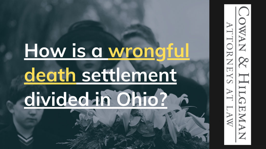 How is a wrongful death settlement divided in Ohio